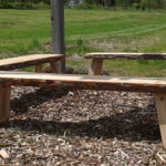 Benches in the Learning Garden were made by our farm neighbor using salvaged wood.