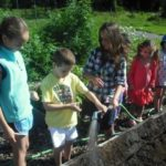 Summer campers attending to chores in the Learning Garden